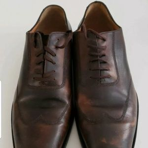 MENS GUCCI DARK BROWN WING TIP LACEUP DRESS SHOES!